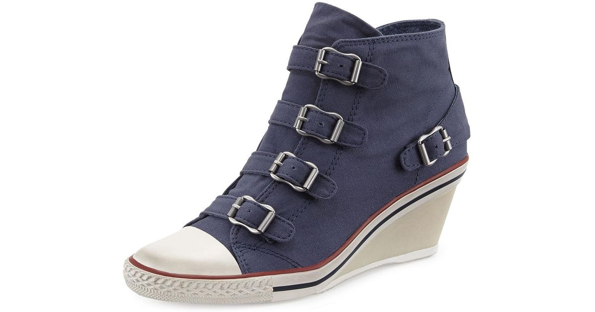 8d8207b114e0 Lyst - Ash Genialbis Buckled Wedge Sneaker in Blue
