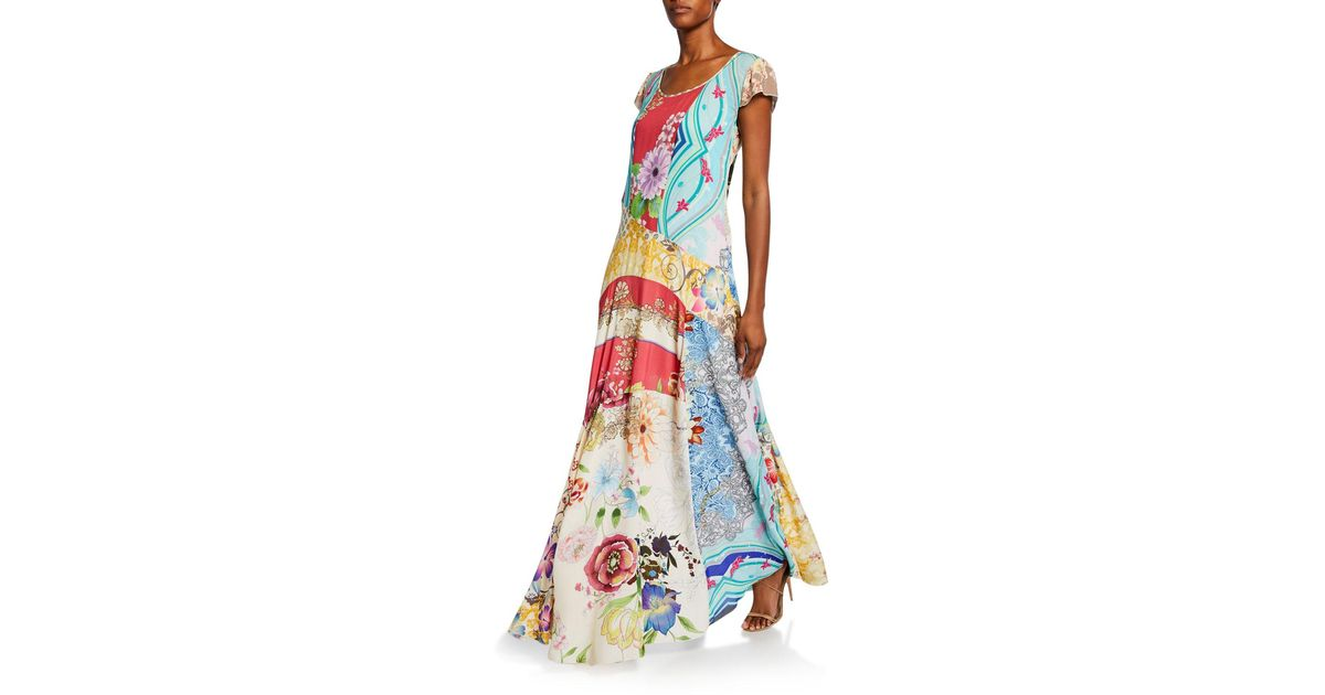Johnny Was Leon Printed Cap-sleeve Maxi Dress With Slip in ...