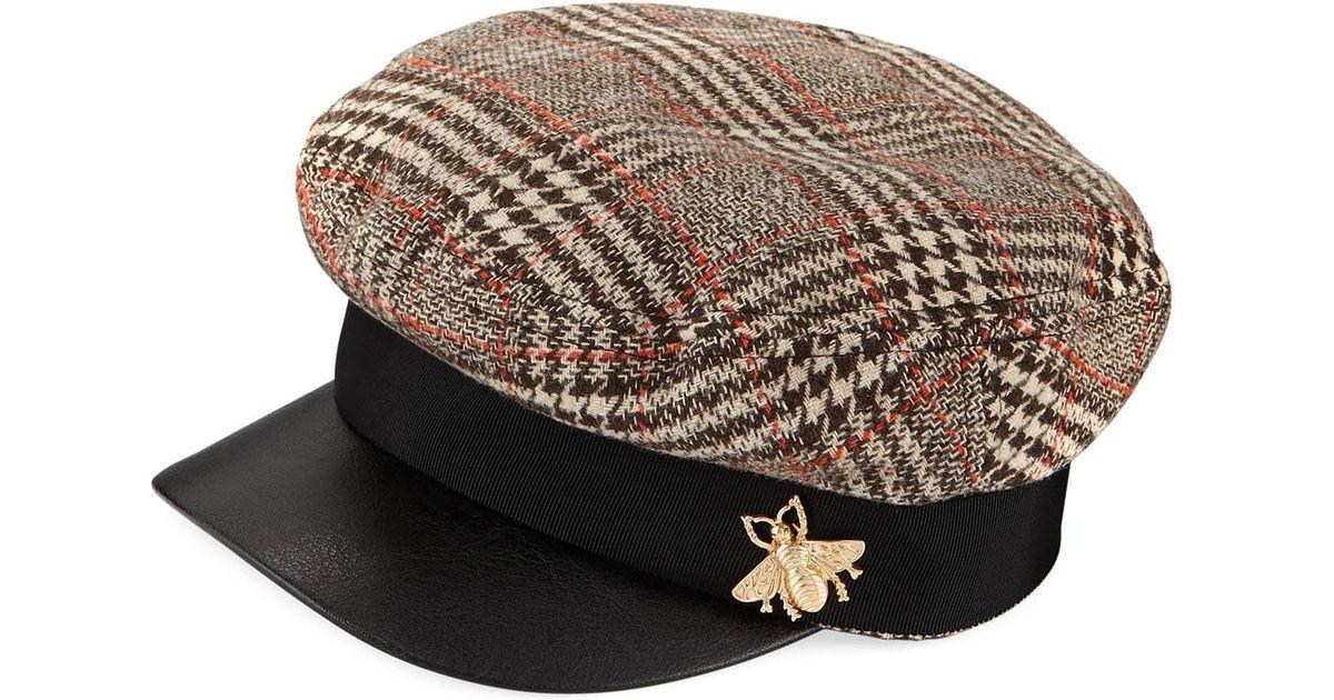 243d1ea1264 Lyst - San Diego Hat Company Herringbone Fisherman Cap W  Faux Leather Brim  in Brown for Men