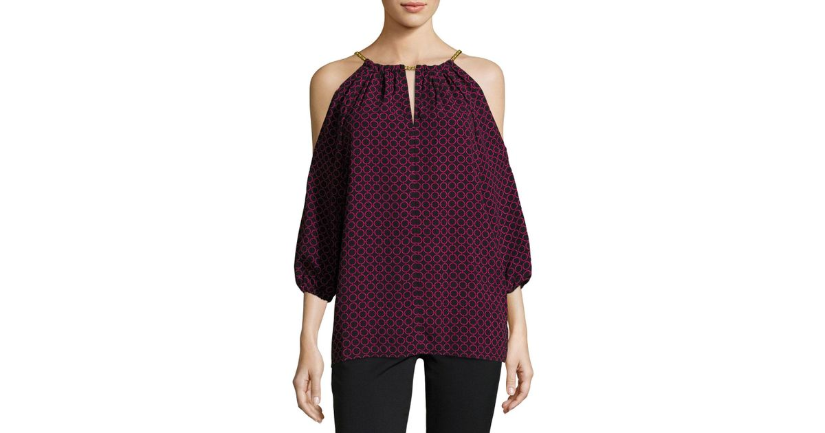eb78963d7976ef Lyst - MICHAEL Michael Kors Chain-neck Printed Cold-shoulder Top in Purple