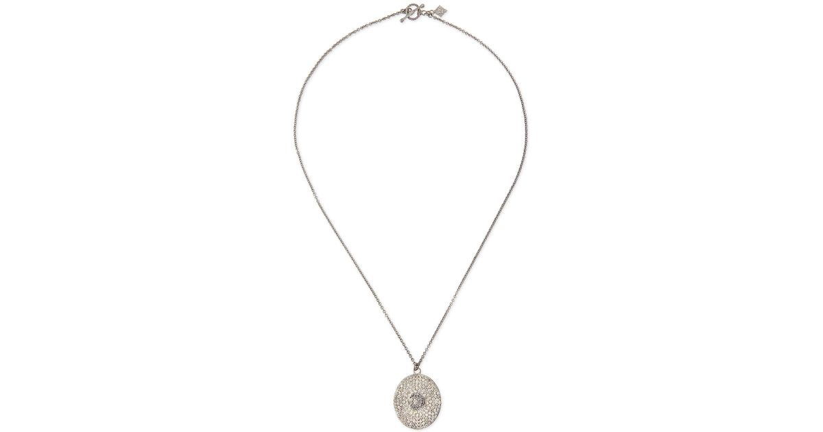 Armenta Large Pave Diamond Oval Pendant Necklace Muvbr52