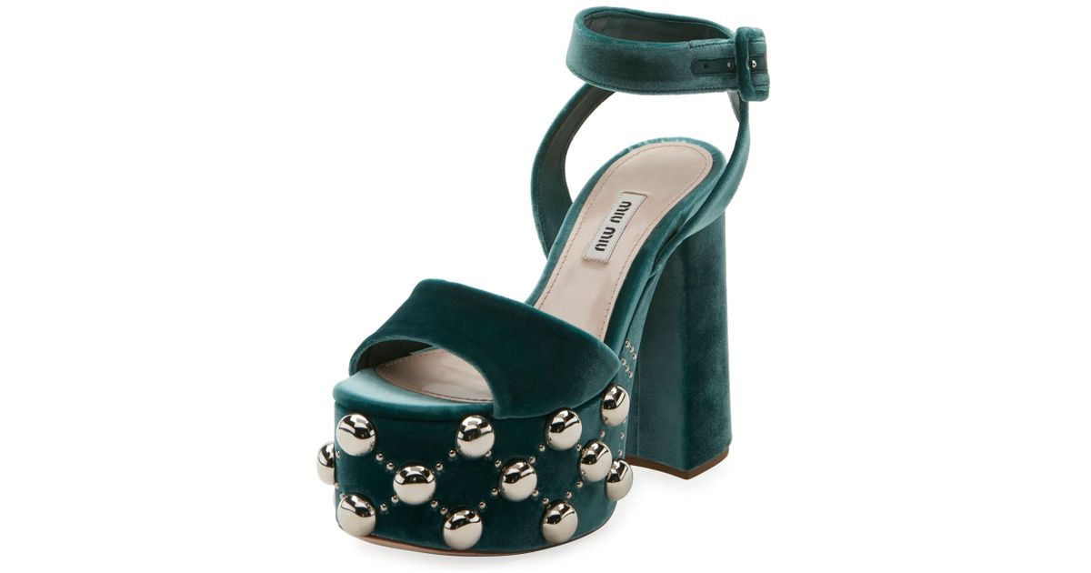 a980f88217a Lyst - Miu Miu Velvet Studded Platform Sandal in Green