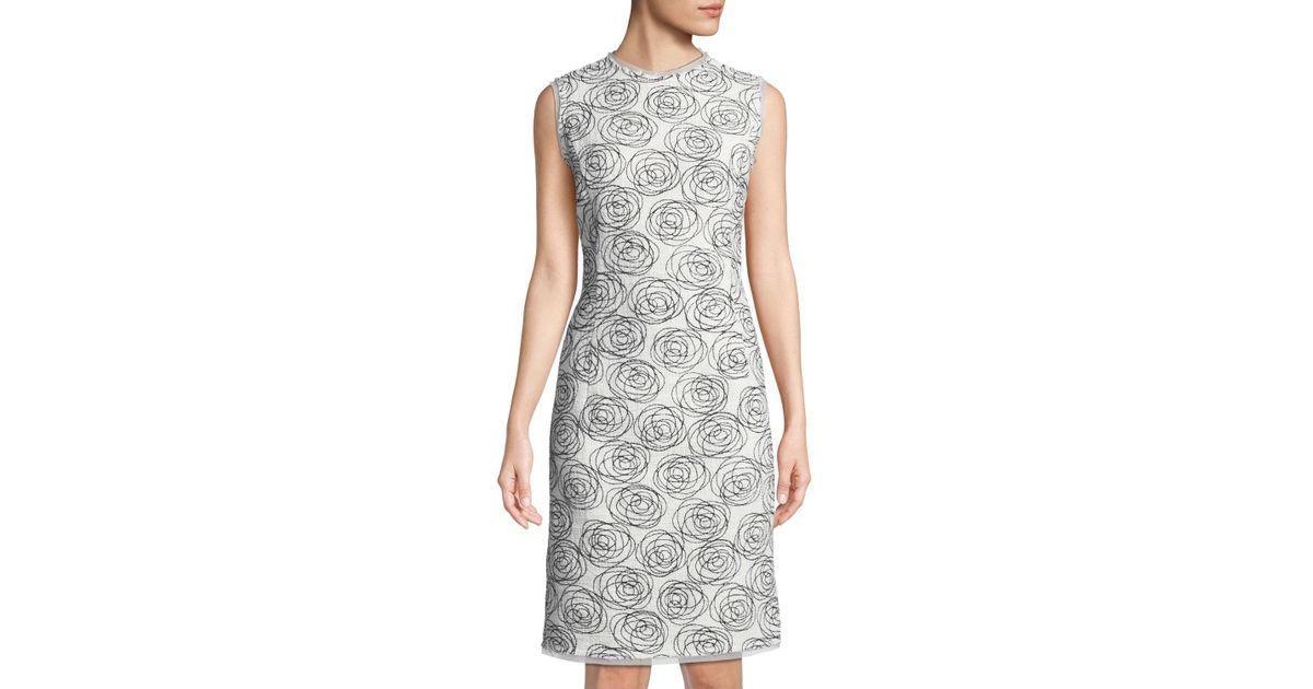 Lyst Oscar De La Renta Rose Embroidered Pencil Dress