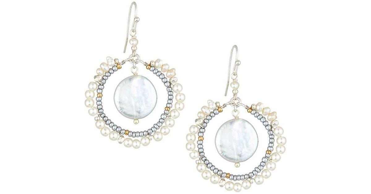 Nakamol Pearl Cluster Hoop Earrings YRvvNz7Zl