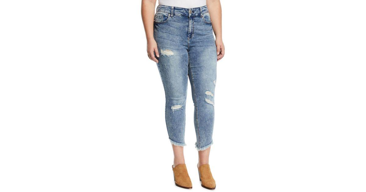 5edd655701fab Seven7 - Blue High-rise Skinny Slanted-ankle Jeans - Lyst