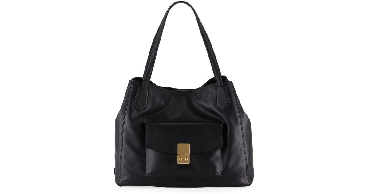 Lyst - Cole Haan Allanna Work Leather Tote Bag in Black 9f5160561dc05