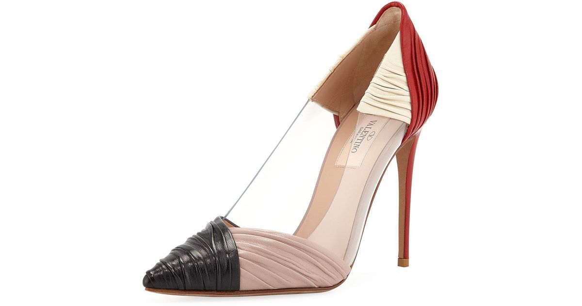 ad8ab7c404e Lyst - Valentino Ruched Leather Clear-sided Pumps