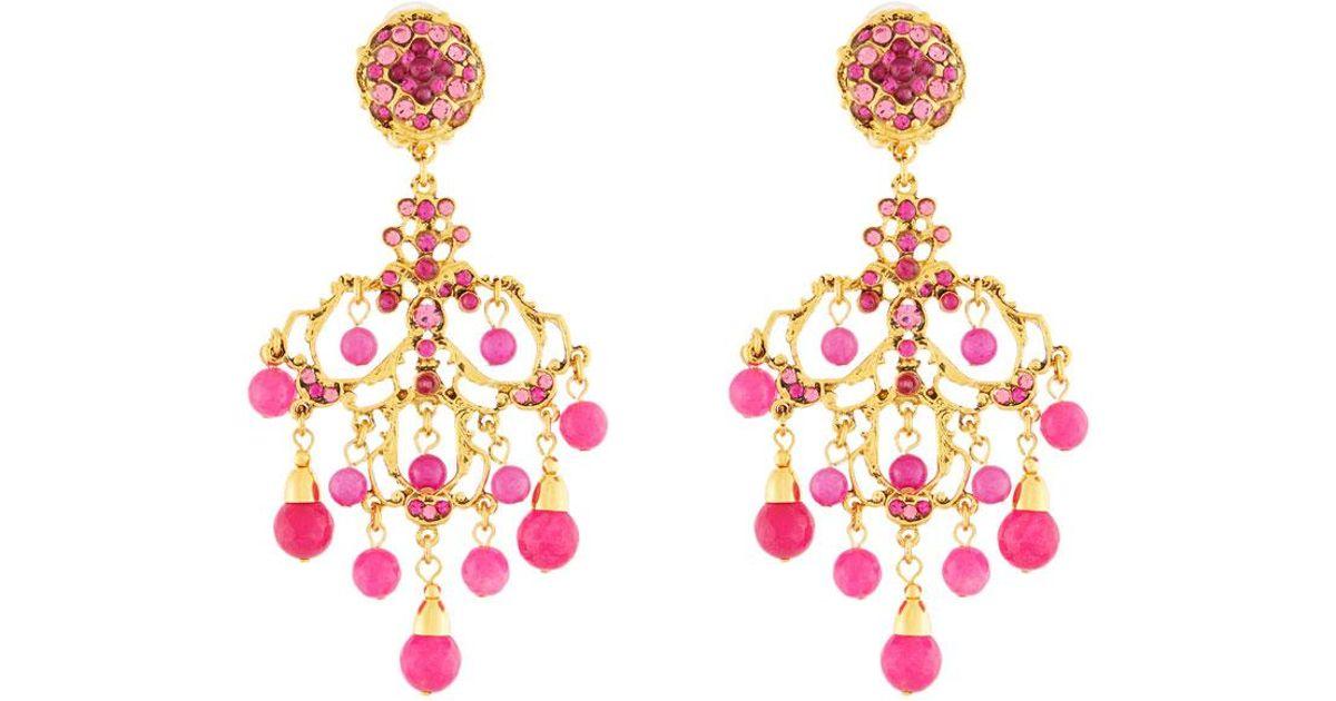 Jose & Maria Barrera Agate & Crystal Filigreed Chandelier Earrings t45WM4jzK
