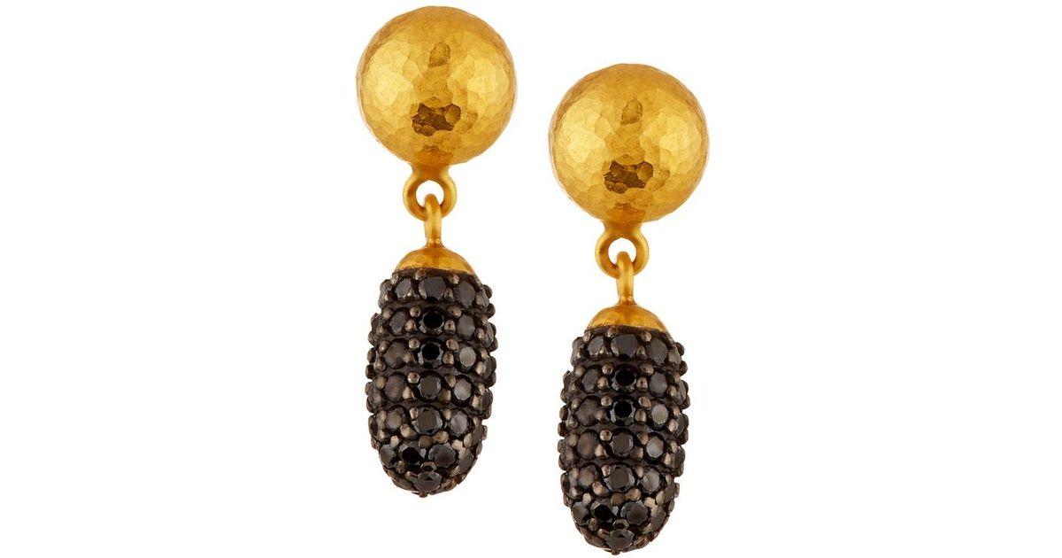 Gurhan 24k Small Cocoon Black Diamond Pavé Drop Earrings WvD9Vm1Q