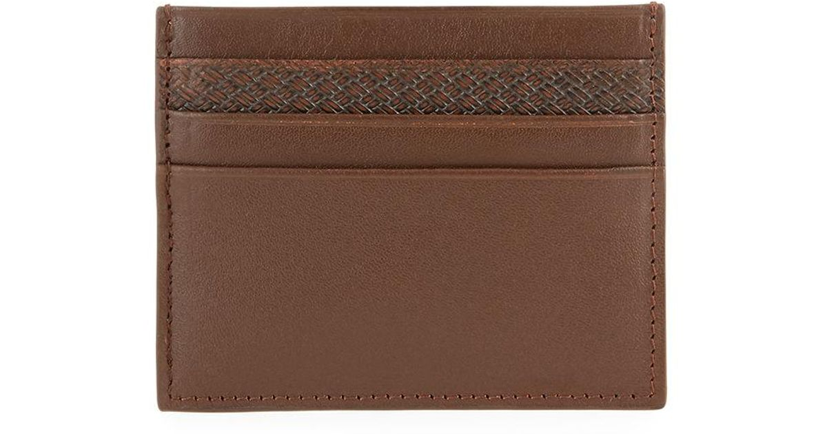 00a8fc2e2a5e5 Lyst - Neiman Marcus Men s Leather Card Case in Brown for Men