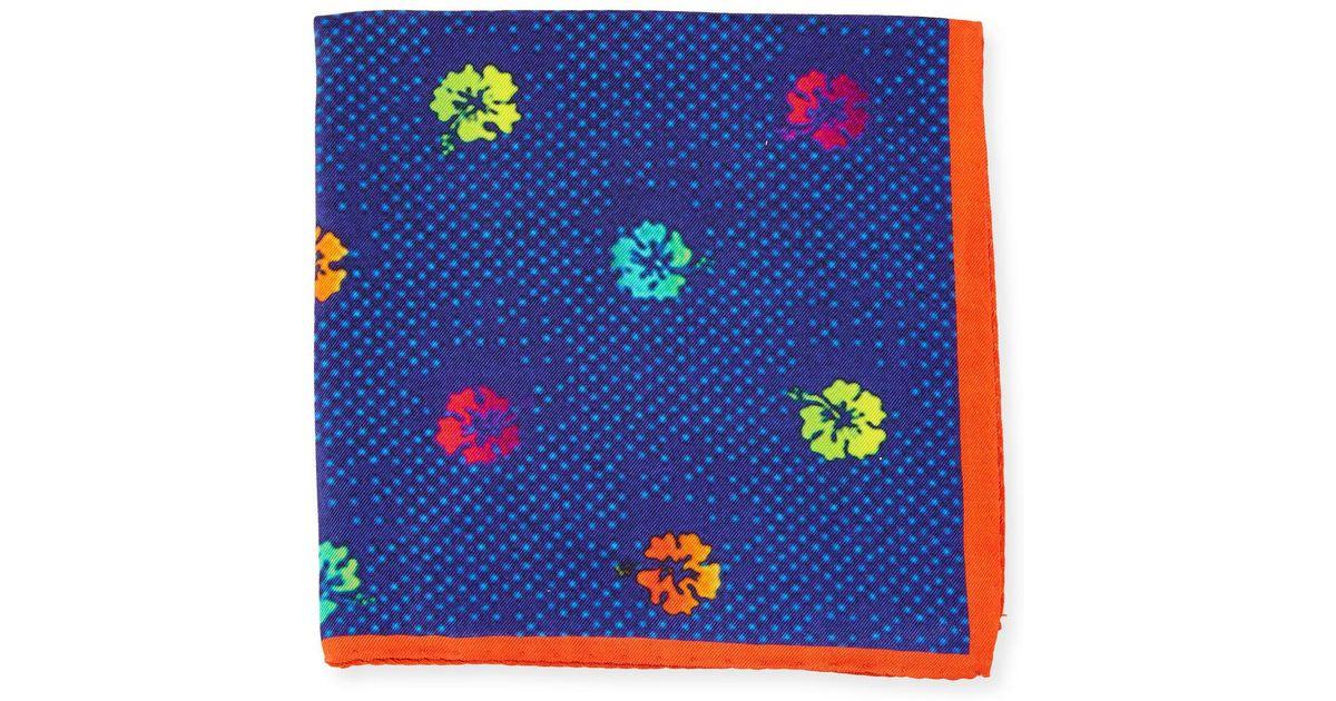 Mens Geometric-Print Wool-Silk Pocket Square Petronius gnBSTh