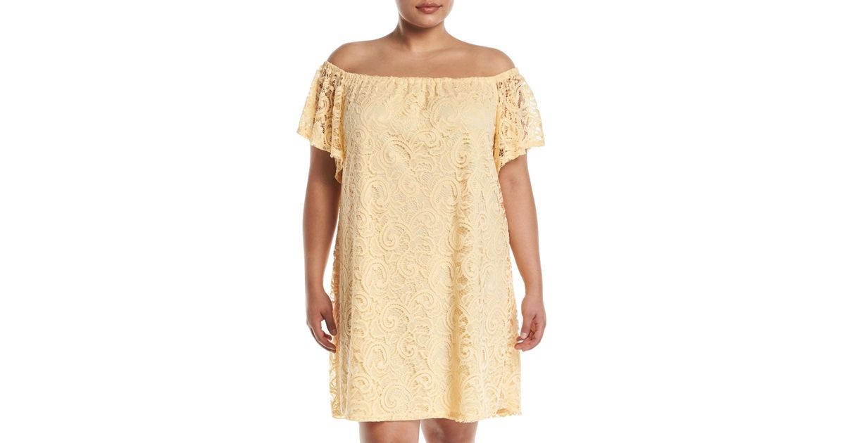 Neiman Marcus Yellow Off-the-shoulder Scalloped Lace Dress Plus Size