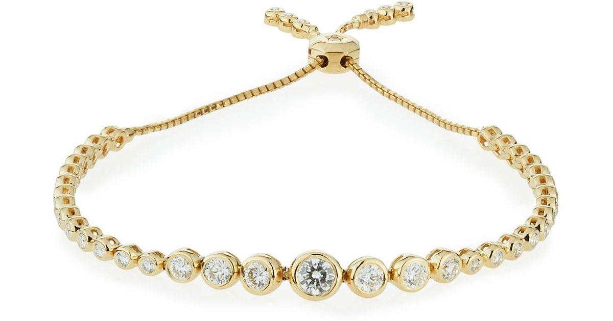 Neiman marcus 14k Yellow Gold Adjustable Diamond Bracelet in