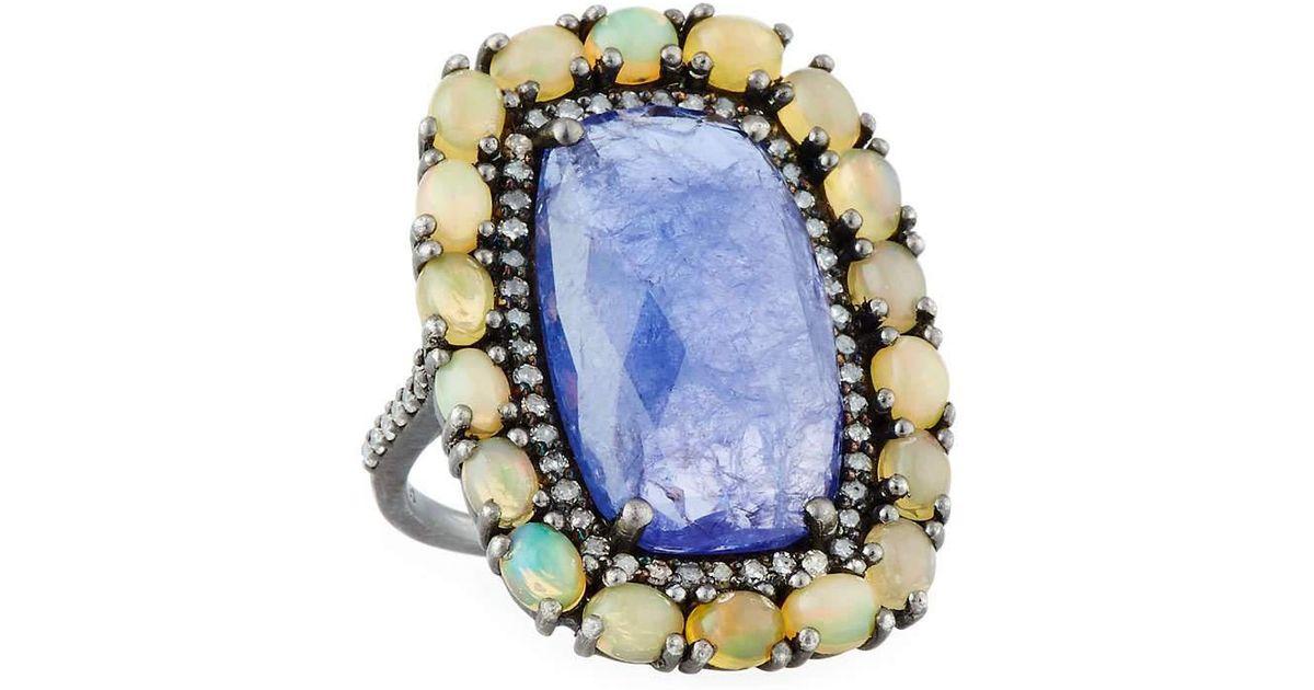 Bavna Turquoise & Diamond Oval Ring 7sI8ijdmnW