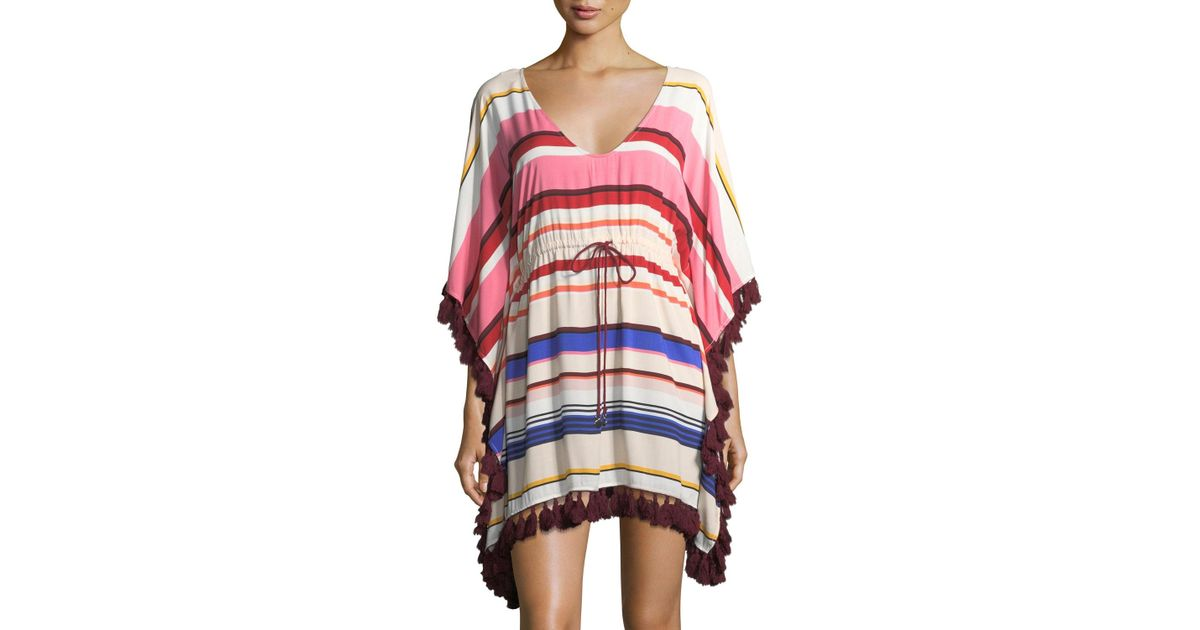 8b024a1dee Kate Spade Striped Caftan Coverup With Tassel Trim - Lyst