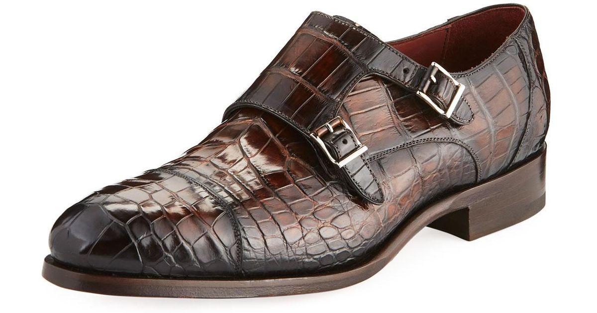 e94c578ce5d Neiman Marcus Brown Men's Alligator & Leather Double Monk Dress Shoes for  men