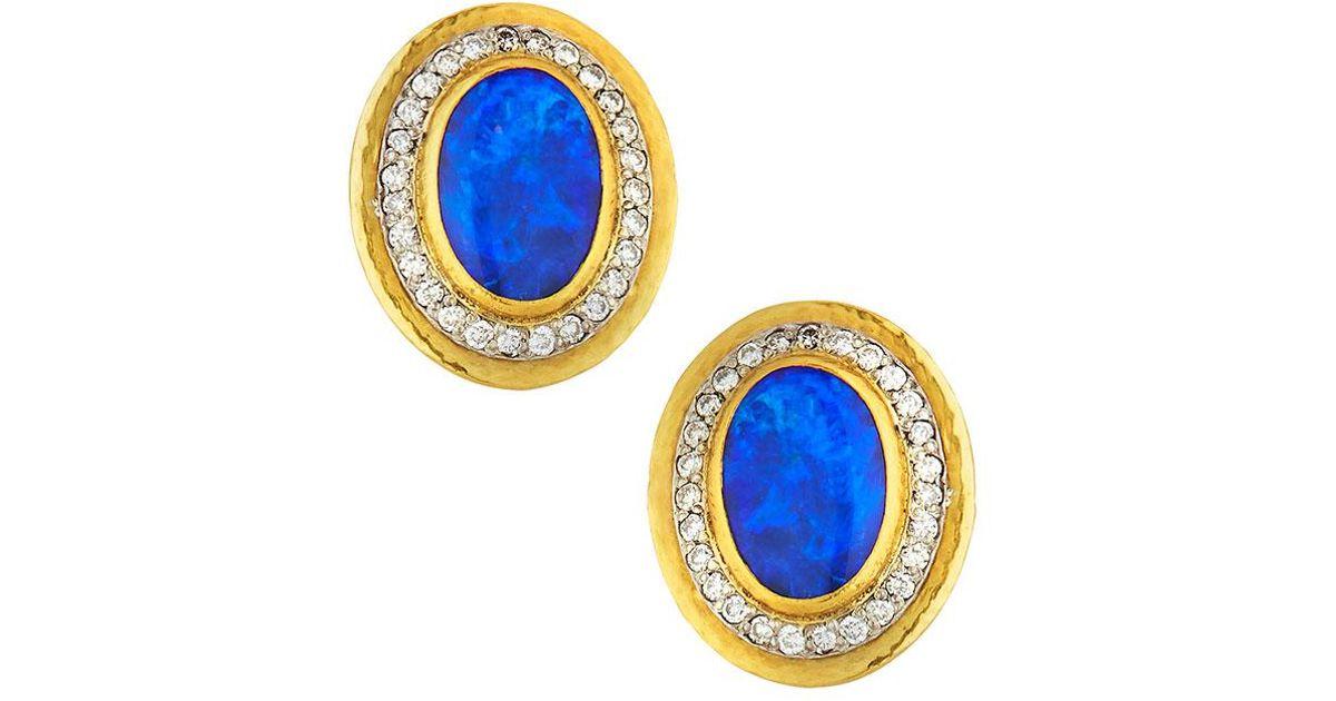 Gurhan 24k One-of-a-Kind Opal & Diamond Stud Earrings 1pwBWDC