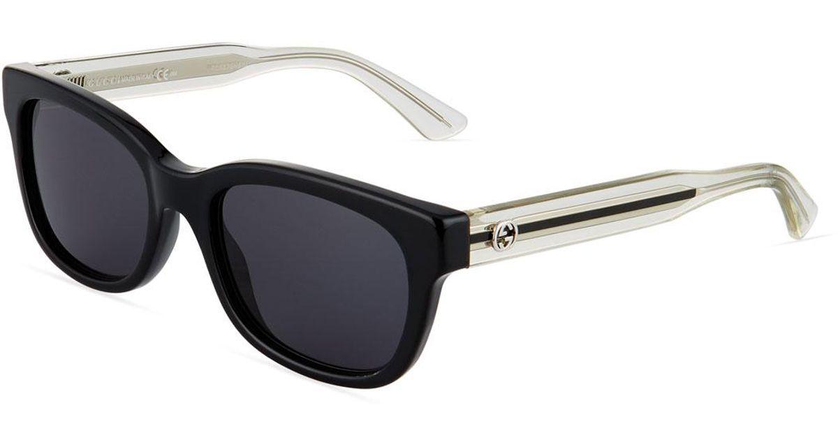 fdc3cbaafda Lyst - Gucci Square Plastic Sunglasses in Black