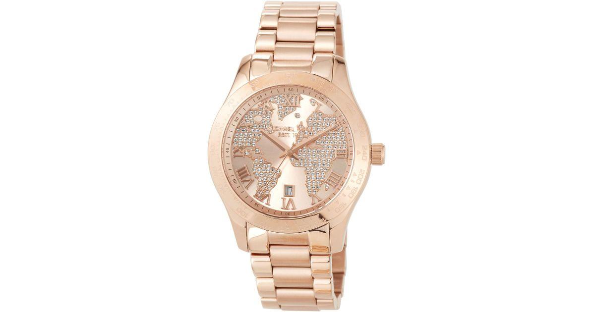 885c28ae1bb7 Lyst - MICHAEL Michael Kors 44mm Layton World Map Bracelet Watch in Metallic