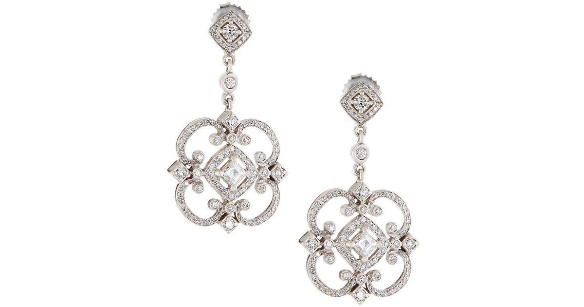 f7b9ead63e9d77 Lyst Penny Preville 18k Diamond Fl Dangle Earrings In Metallic