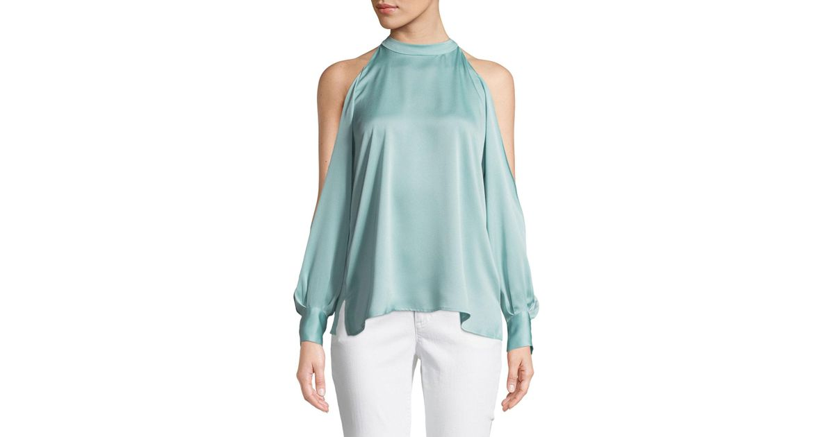 0296943b44fd3 Lyst - 1.STATE Crepe High-neck Cold-shoulder Blouse in Blue