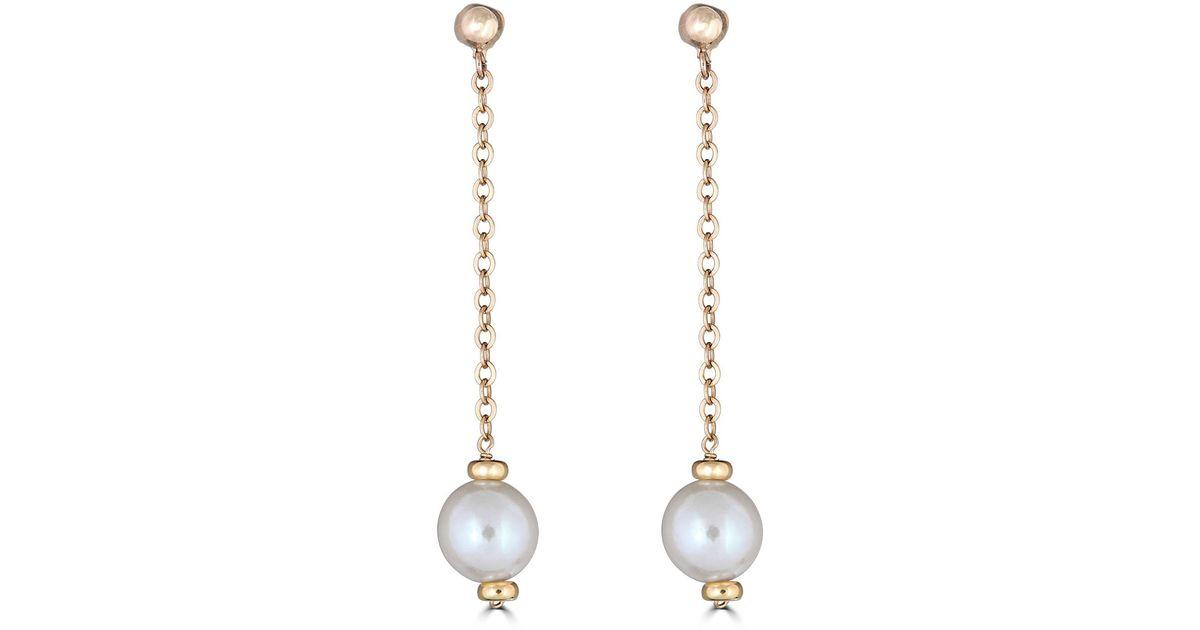 Belpearl Metallic 14k Chain Pearl Dangle Earrings