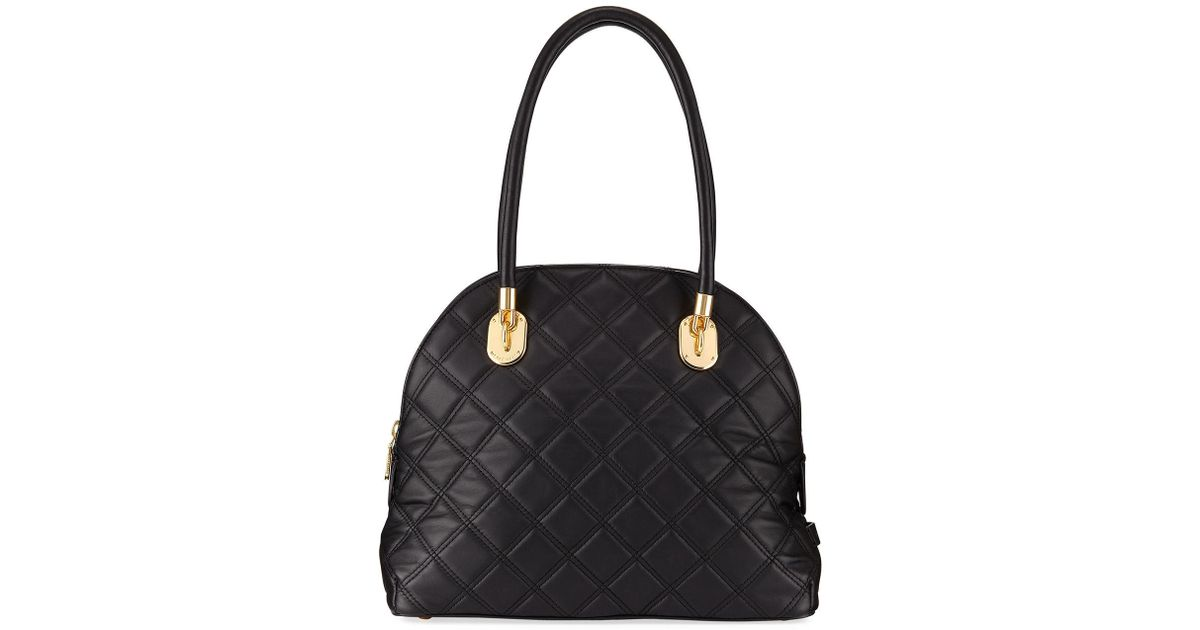 Lyst - Cole Haan Benson Quilted Dome Satchel Bag in Black e4c0e221cf