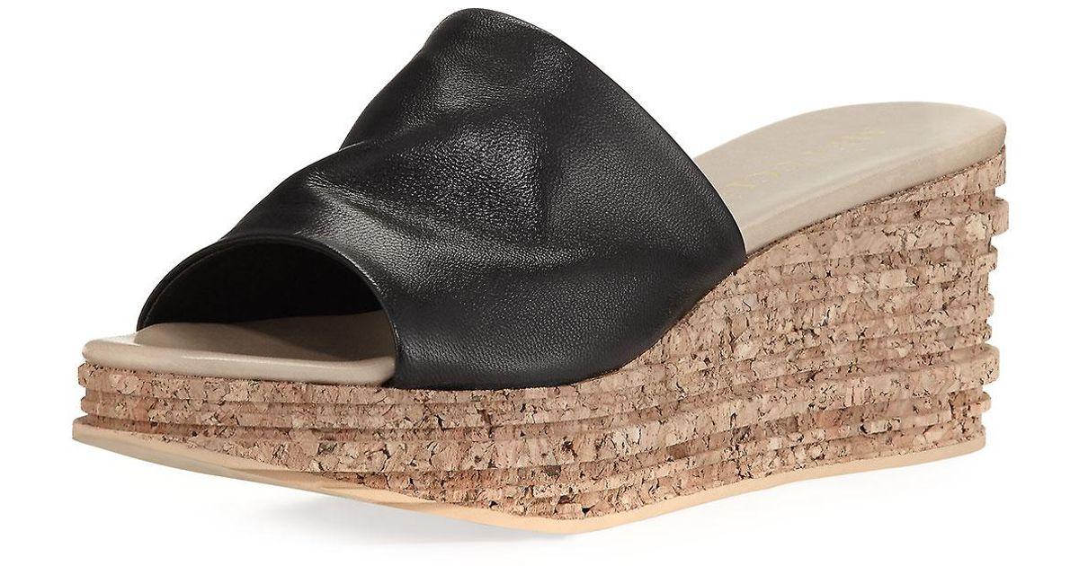 1fd1f69326d Sesto Meucci Black Amanda Slide Cork Wedge Sandal