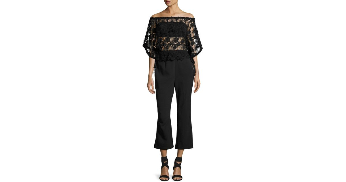 e8ee67592e5 Lyst - Foxiedox Daisy Lace-overlay Jumpsuit in Black