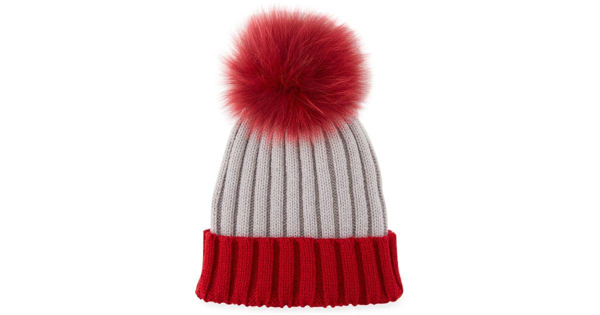 Lyst - Adrienne Landau Two-tone Fox Fur Pompom Beanie in Red 1528bf6514f3