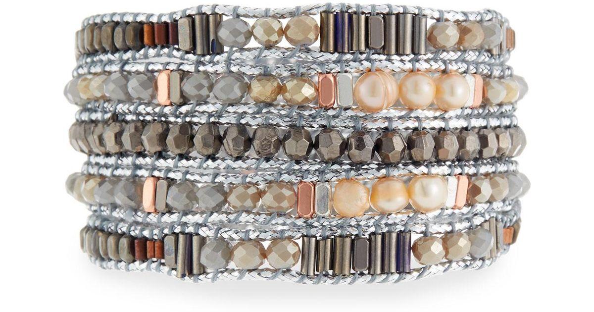 Nakamol Multicolor Freshwater Pearl Beaded Wrap Bracelet