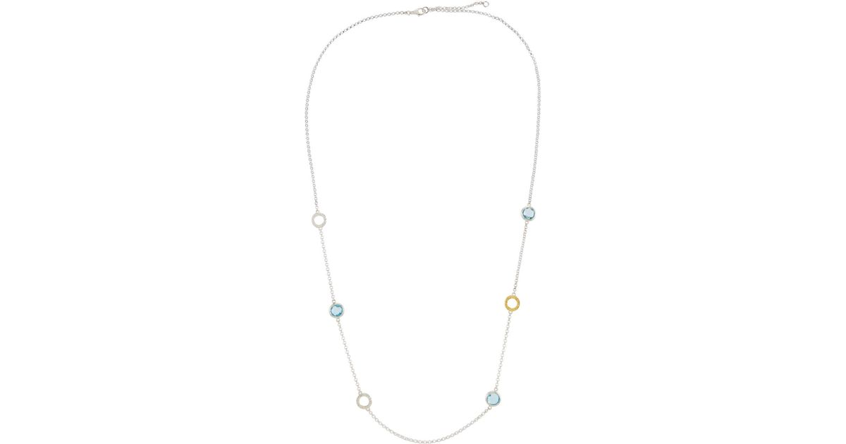 Gurhan Galapagos Long Two-Tone Blue Topaz Station Necklace 3qMLrLz8l
