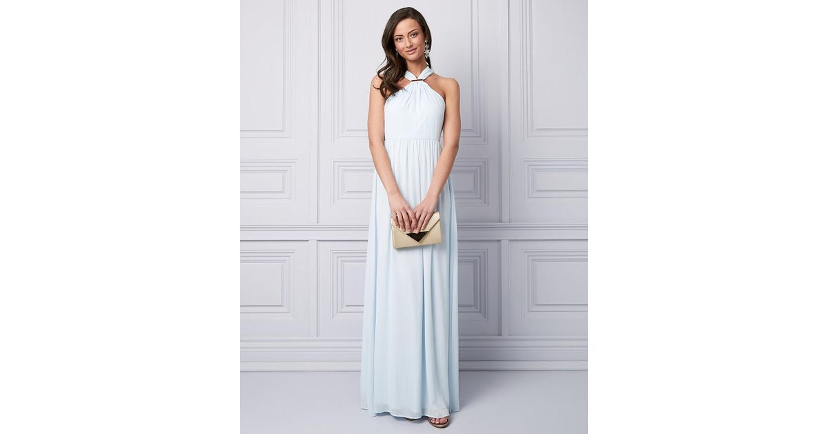 Le Chateau Chiffon Halter Gown in Blue - Lyst