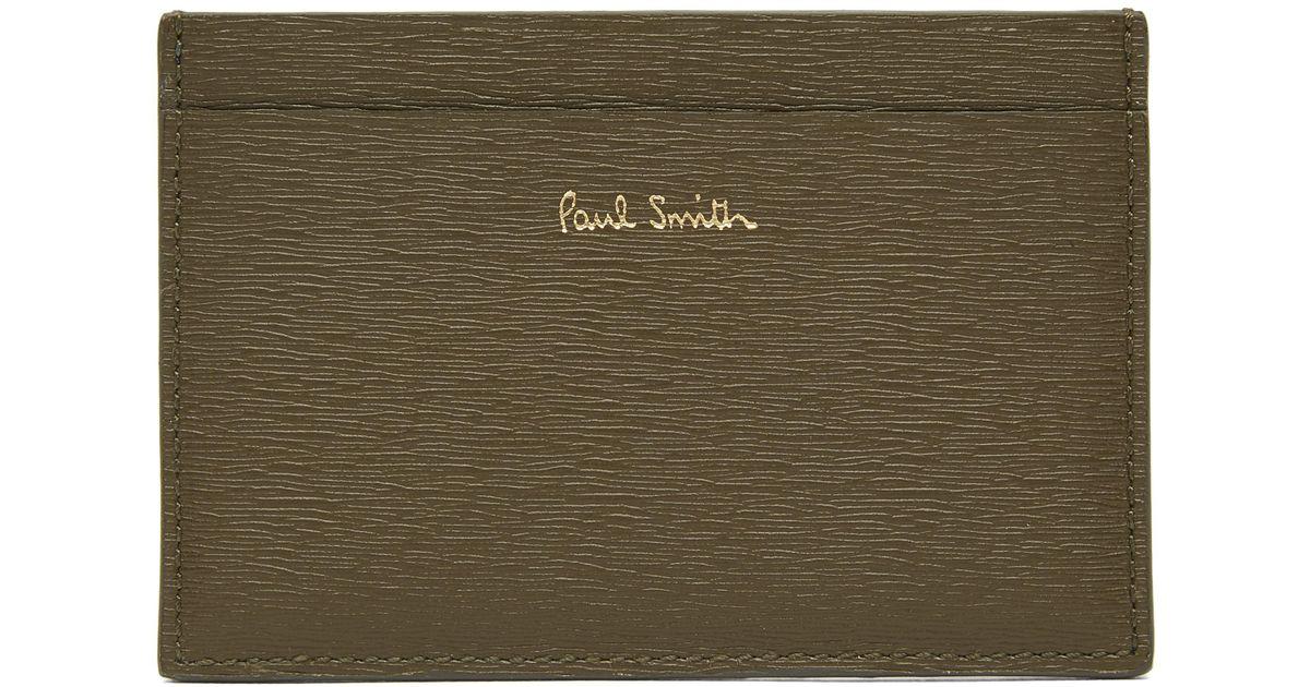 466b91838ee4c Paul Smith Artist Stripe Straw Grain Leather Card Holder in Green for Men -  Lyst