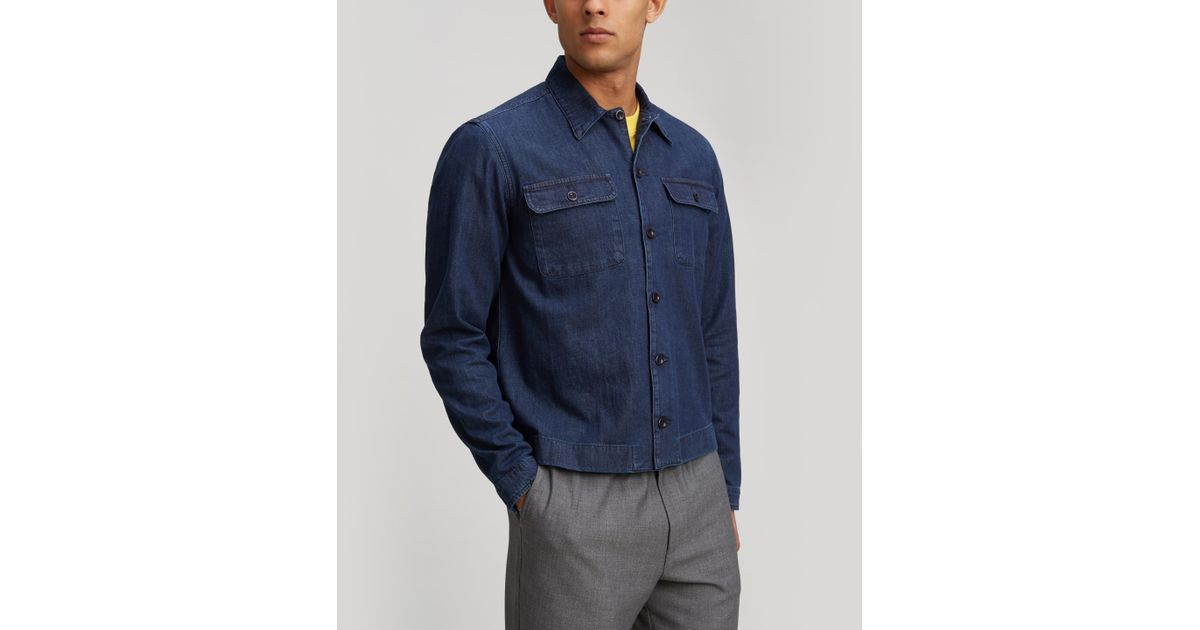 ba8e222a6b631b Albam Woven Press Cotton Shirt in Blue for Men - Lyst