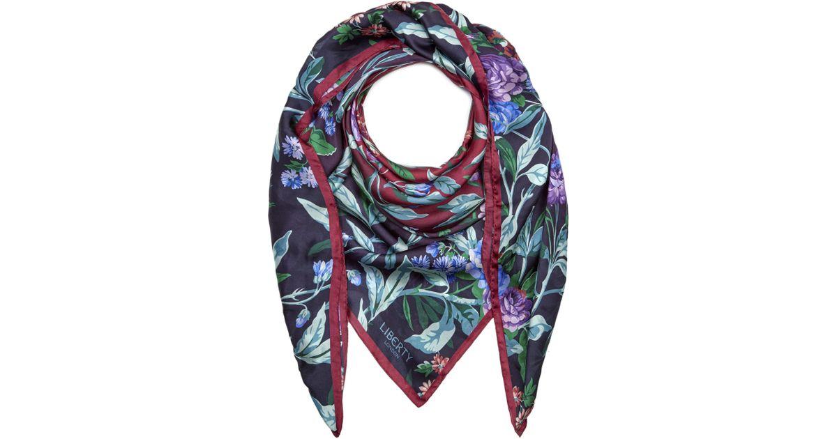 1ed502088b600 Liberty Desert Rose 140 X 140cm Silk Chiffon Scarf in Blue - Lyst