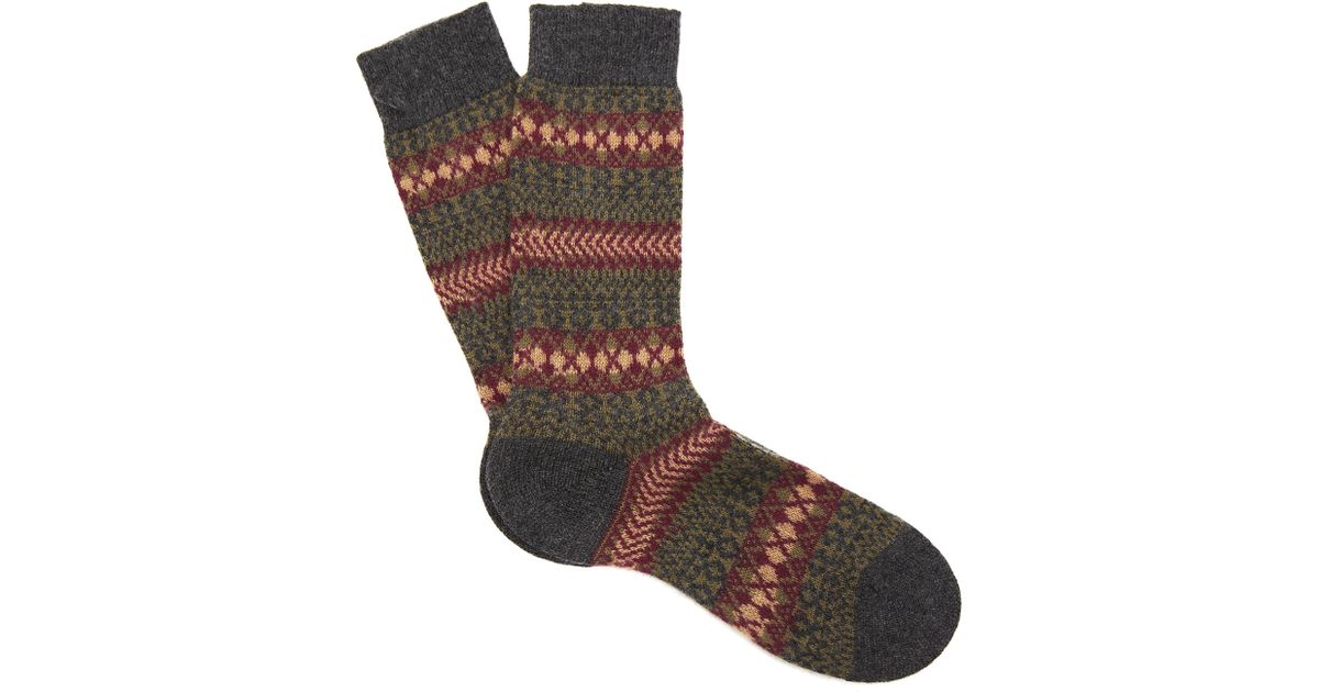 Pantherella Mapperton Fairisle Cashmere Socks for Men | Lyst