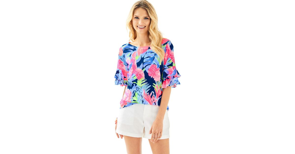 be158ea57bc6e4 Lyst - Lilly Pulitzer Lula Top in Blue