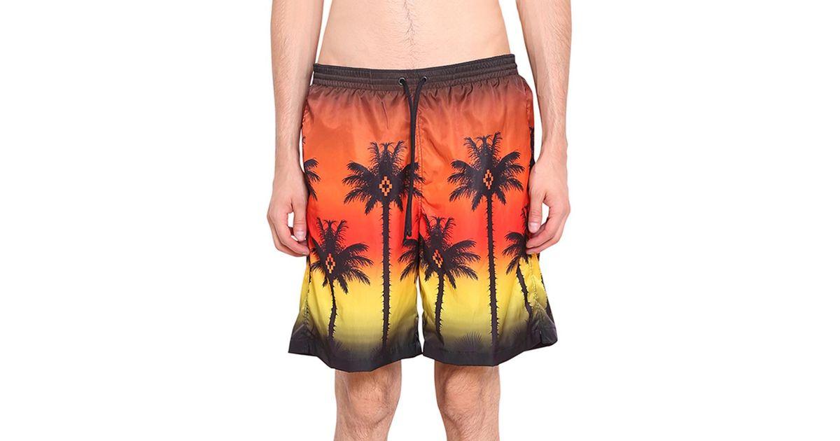 528ee8acb6 Marcelo Burlon Red Palm Swim Shorts in Black for Men - Lyst