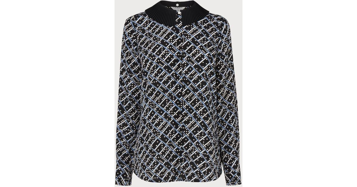 fff6477029b76 Lyst - L.K.Bennett Lotte Domino Print Silk Blouse in Black
