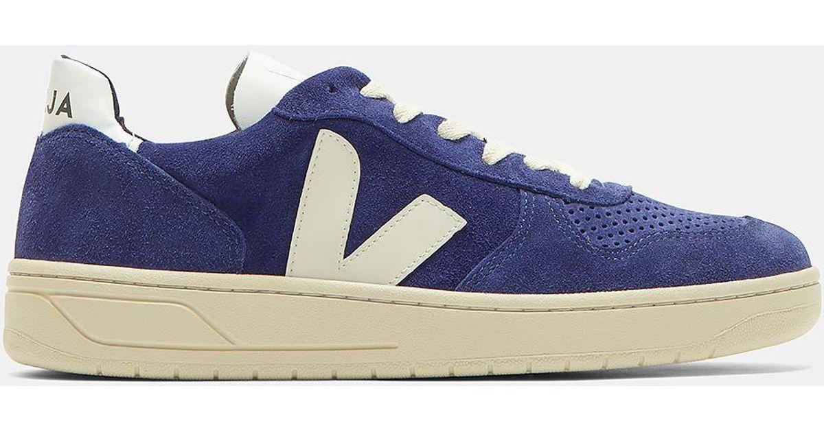 Veja V10 Suede Low-top Sneakers In Blue