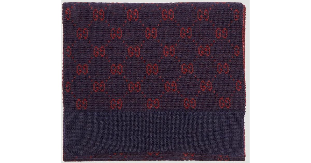 83f4ace23d Gucci Blue GG Alpaca Wool Scarf In Navy for men
