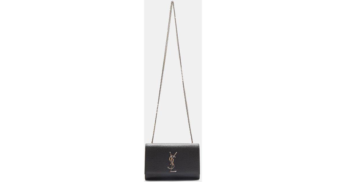 82971b07c89c Lyst - Saint Laurent Small Kate Grain De Poudre Chain Bag In Black in Black