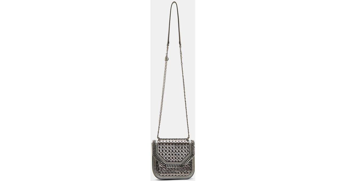 b16d7d7b9716 Lyst - Stella McCartney Metallic Wicker Falabella Box Mini Shoulder Bag In Gunmetal  Silver in Metallic