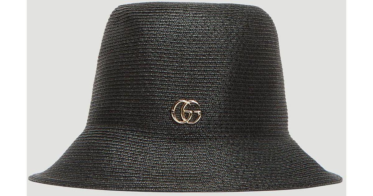 Lyst - Gucci GG Straw Bucket Hat In Black in Black 124e2aedfc4