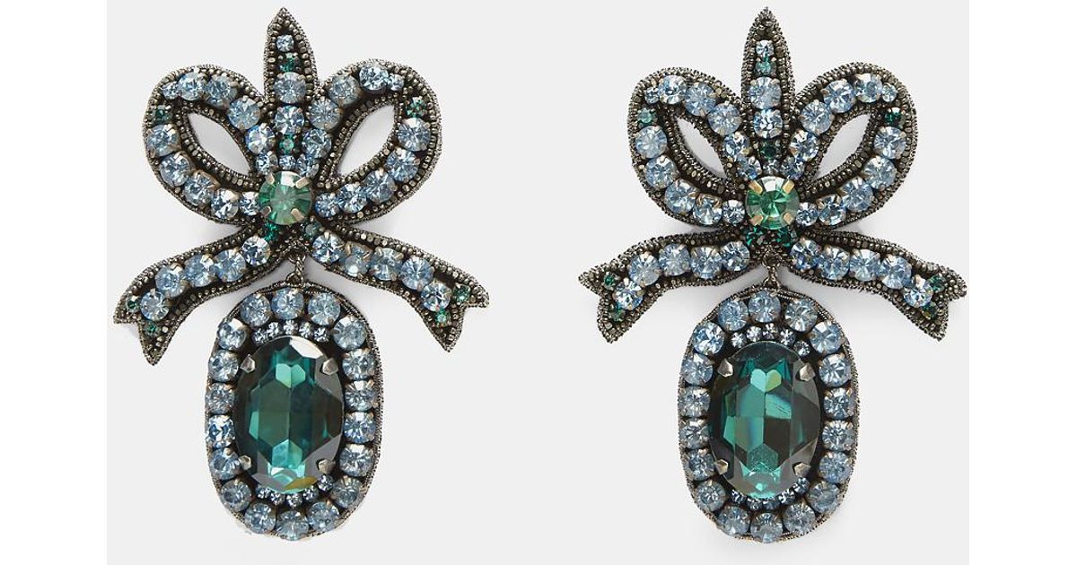 Gucci Crystal embroidered bow earrings zntXBfjK