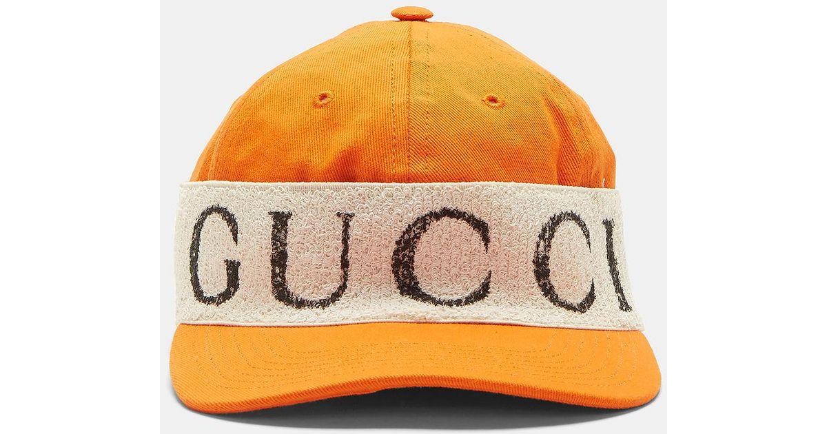 Lyst - Gucci Logo Band Baseball Cap In Orange in Orange for Men e8ef8f7fc2f