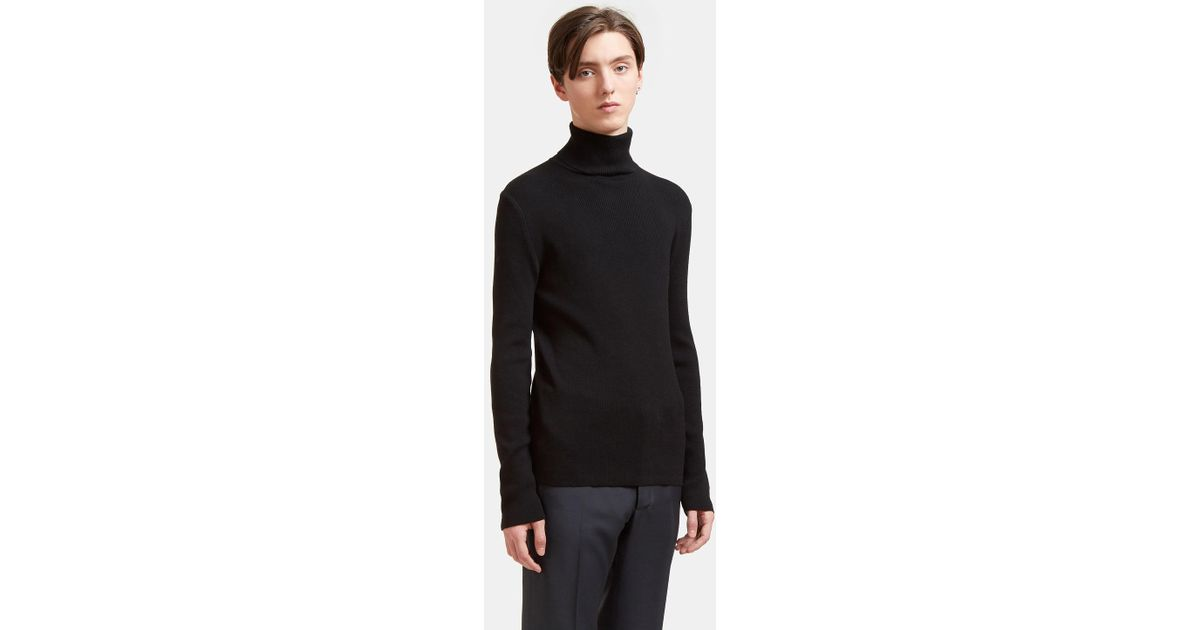 1d3a5b759 Aiezen Men s Ribbed Polo Neck Sweater From Ss15 In Black in Black for Men -  Lyst