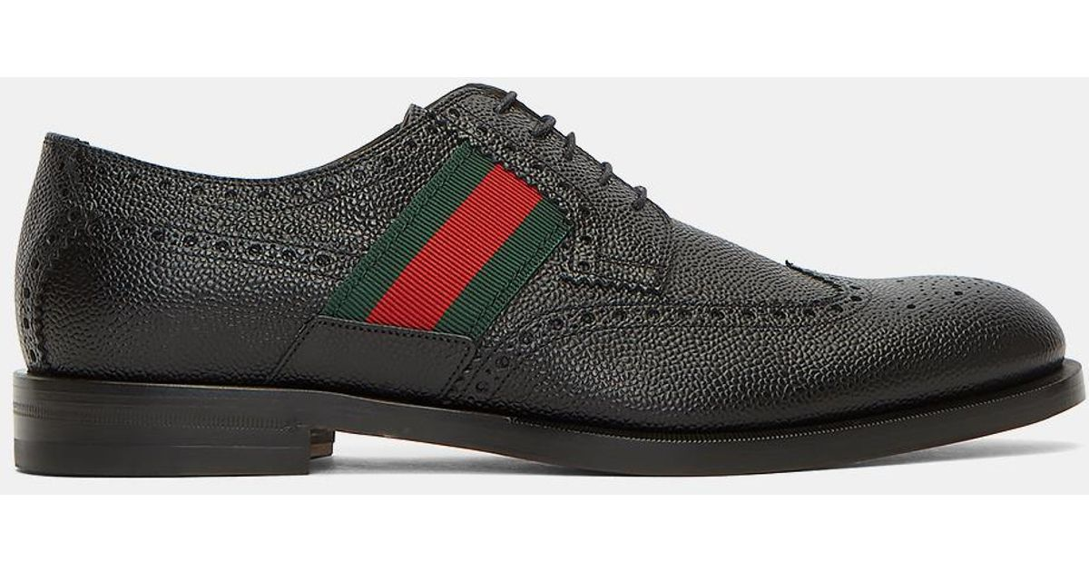 911f4f701 Gucci Men's Striped Webbing Grained Leather Brogues In Black in Black for  Men - Lyst