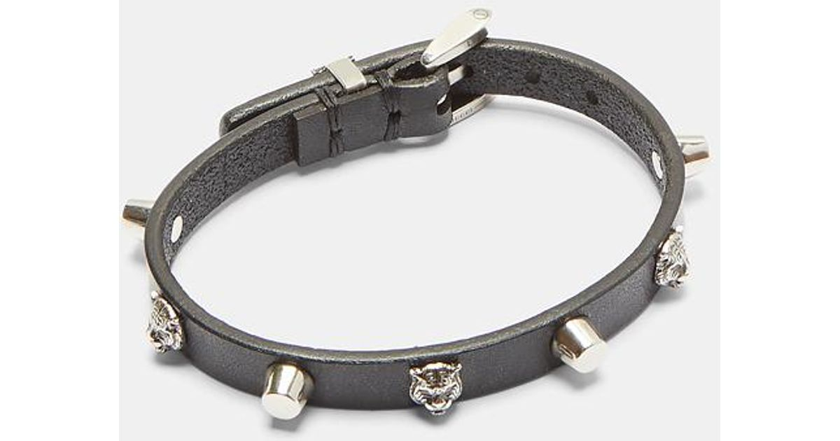 d8eb93ef2 Gucci Feline Head Studded Leather Bracelet In Black And Silver in Black for  Men - Lyst
